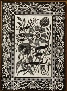 An inverse design with black clayboard border.  A scratchboard by Cynthia Emerlye.
