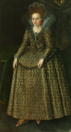 Portrait of a Princess (Elizabeth Stuart ?) by Robert Peake the Elder, 1600s (PD-art/old), National Arts Museum of the Republic of Belarus, in 1604, Sigismund III Vasa sent an ambassador to England to ask for Arbella Stuart to be his wife, but was rejected, possibly from the collection of the Polish Vasas