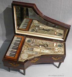 Palais Royal musical Grand Piano sewing box, circa 1830