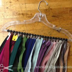 zipper storage for sewing room organization