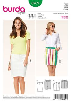 Misses Skirts Burda Sewing Pattern No. 6769. Size 10-20.