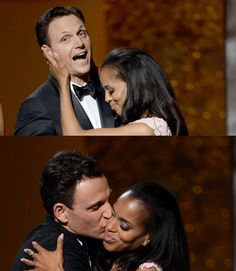 """Congratulations, baby! Kerry Washington wins NAACP Award for Best Lead Actress in a TV drama, for the role of Olivia Pope . """"Fitz"""" is lucky enough to be the one to give her the award. Boy, did he enjoy it!"""