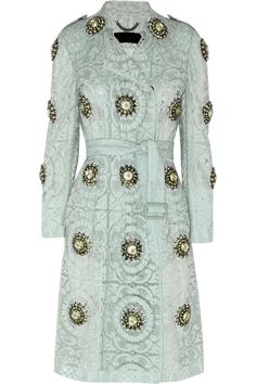 Burberry Prorsum | Embellished cotton-blend lace trench coat