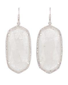 Kendra Scott // Large Pave-Trim Rock Crystal Drop Earrings #KendraScott (Perfect for Brides)