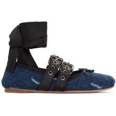 Miu Miu Indigo Denim Double Buckle Ballerina Flats ($670) ❤ liked on Polyvore featuring shoes, flats, indigo, ballerina shoes, denim shoes, flat shoes, strap ballet flats and ballet flats