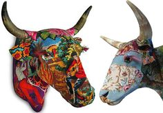 Fiberglass sculptures covered in vintage needlepoint & tapestries!