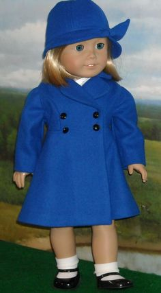 1930s 1940s Royal Blue Wool Coat & Hat for by SugarloafDollClothes                                                       Click he...