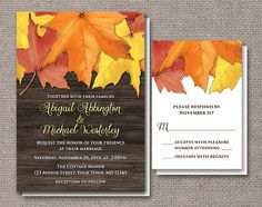 Rustic Autumn Leaves Wood Wedding Invitations and RSVP - Printed or Printable - Red Orange Yellow Brown $22.00