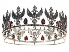 This is the Dagmar tiara created by Peter Axenoff, a modern Russian jeweler. This tiara is made of silver and black spinel.