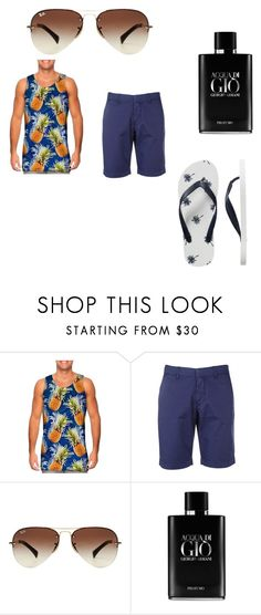 """The beach"" by alexsame ❤ liked on Polyvore featuring FAY, Ray-Ban, Giorgio Armani, Gap, men's fashion and menswear"