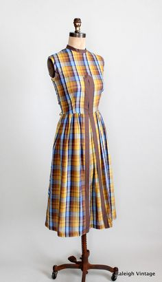 Vintage Late 1950s Plaid Day Dress.