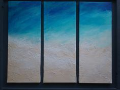 BEACH PAINTING triptych original turquois sea acrylic canvas home decor by FGillies on Etsy