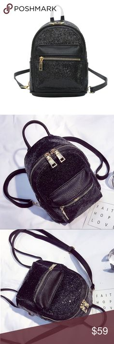 Cute Sequin Mini Backpack Leather Purse Women Material: High Quality PU Leather, Sequin Decor.  Lining fabric: polyester. SIZE(LxWxH): 16cm*9cm*25cm/6.3in*3.5in*9.8in.  Shoulder Strap Length: 100cm/39in. Weight: 0.55kg/1.2lb. Structure: Zipper Closure, with adjustable shoulder straps. 1 front zipper pocket, 1 main compartment. Capacity: It can hold your wallets, keys, cell phones, makeups and other small items. Bags Mini Bags