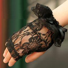 Women Black Lace Fingerless Gothic Short Wedding Bridal Dress Gloves SKU-71102022