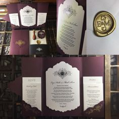 Stunning letterpress wedding invitation suite with gold and black foiling and beautiful claret colour folder Letterpress Wedding Invitations, Wedding Invitation Suite, Letter Press, Art Pieces, Colour, Lettering, Gold, Beautiful, Black
