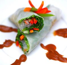 Vegetable Spring Rolls with Peanut Dipping Sauce.