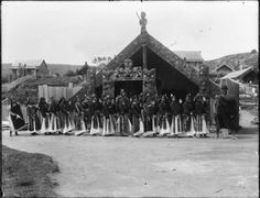 Scene at Whakarewarewa village showing Maori women performing an action song outside Te Rauru meeting house. Polynesian People, Action Songs, Maori People, Maori Art, Kiwiana, He Is Able, Old Photos, New Zealand, The Outsiders