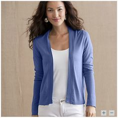 Lapis (Blue) Open Cardigan from Gaiam - This cardigan from Gaiam is a little more conservative than I normally prefer, but it will be great for the office or when my mom guilts me into going to church; easier to disguise my inner hussy.