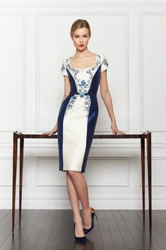 Carolina Herrera: Pre-fall Autumn 2013 Navy & Ivory mickado embroidered sheath