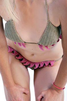 FETISH set biquíni, crochet, lycra, swimsuit elástico, Handmade swimwear, olhar sexy, ajuste perfeito,