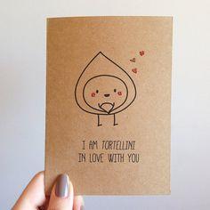 Tortellini Pun Cute Love Valentines Card by SubstellarStudio, $4.00