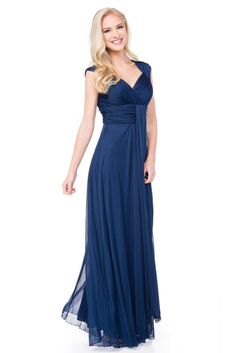 You're a marvelous maven of fashion in the plunging v-neckline of this gown. Pleated to perfection, the textured bust and empire waist of this gown stand out. From the waist, long pleated strips of lu