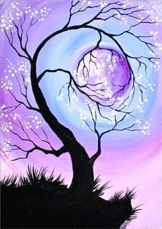 23 Trendy Diy Christmas Paintings On Canvas Projects Christmas Paintings On Canvas, Learn To Paint, Painting & Drawing, Basic Painting, Painting Canvas, Moon Painting, Tree Painting Easy, Purple Painting, Tree Of Life Painting