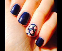 navy nails with orange accent nail - Google Search