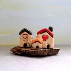 Romantic gift  White houses  Ceramic home decor  by ednapio