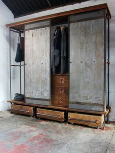 David Chestnut Stained Reclaimed Scaffolding Board, Dark Steel Pipe and Copper Fittings Open Wardrobe with Vintage Locker Sliding Doors
