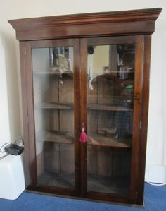 ANTIQUE VICTORIAN MAHOGANY ORIGINAL GLASS FRONTED CABINET DISPLAY BOOKCASE
