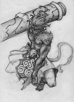 monkey king by chavdar-tn Animal Drawings, Cool Drawings, Drawing Sketches, Monkey Drawing, Monkey Tattoos, Doll Tattoo, Alien Tattoo, King Tattoos, Spirited Art