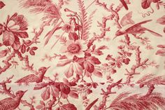 Wonderful antique French printed cotton fabric ~ stunning floral and bird design ~ 19th century at its best! www.textiletrunk.com