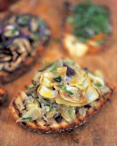 Baby artichoke bruschette by Jamie Oliver. #food #vegan