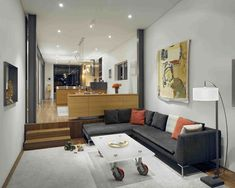 living room interior and furniture view in cool concrete modern house design by Zack de Vito Sunken Living Room, Living Room Sofa, Living Room Interior, Living Area, Living Room Furniture, Living Room Decor, Living Rooms, House Furniture, Small Living