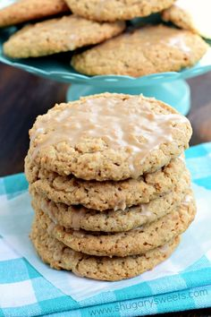 """Maple Iced Oatmeal Cookies with a crunchy outside and a sweet, chewy center! The glaze on top is the """"icing on the cake""""!"""
