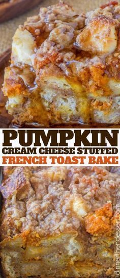 Pumpkin French Toast Bake with cream cheese filling and no overnight chilling an. - Pumpkin French Toast Bake with cream cheese filling and no overnight chilling and is the perfect br - Breakfast Dishes, Breakfast Casserole, Breakfast Recipes, Stuffed French Toast Casserole, Pumpkin Breakfast, Pumpkin French Toast, French Toast Bake, French Toast Sandwich, Overnight French Toast