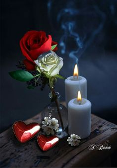 black and white touch of color by beautiful soul Good Night Image, Good Morning Good Night, Romantic Roses, Beautiful Roses, Love Rose, Love Flowers, Hearts And Roses, Red Roses, Candle Lanterns