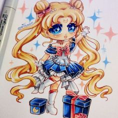 MERRY CHRISTMAS~~! I hope you all have a great christmas! This is a xmas chibi of Usagi / Sailor Moon (based off her Princess Sailor Moon form) #fanart
