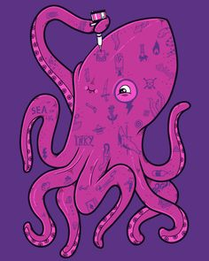 cool funny graphic design chicquero inked octopus. reminds me of adventure time