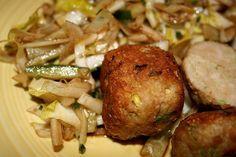 chicken meatballs and chicoree salad