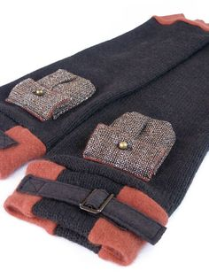 STEAMPUNK leg warmers • With two small cute pockets, brown, orange, high quality, warm and cozy, perfect for winter