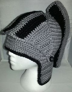 Crochet Knight Helmet grey and black with face by KidsNKrochet