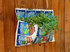 Wall Planter made of Recycled Juice by LLDesignJuicePouches, $5.00