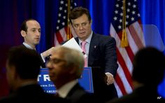 Paul Manafort, right, and Stephen Miller, senior policy adviser for Republican…