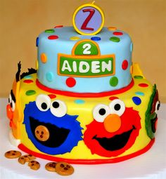 I Used Icedideas Cake Design As A Reference, Since Her with regard to Sesame Street Cake Designs - Cake Design Ideas Sesame Street Birthday Cakes, Sesame Street Cupcakes, Sesame Street Cake, Sesame Street Cookies, Bolo Elmo, Elmo Cake, 1st Birthday Cakes, Elmo Birthday, Birthday Ideas