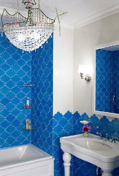 Blue - Bathroom - Katie Ridder - The Ship Chandelier Slays Me!