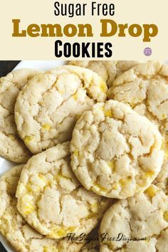 This is the recipe for Sugar Free Lemon Drop Cookies Sugar Free Cookie Recipes, Sugar Free Deserts, Sugar Free Baking, Sugar Free Sweets, Sugar Free Cookies, Sugar Free Lemon Drops, Sugar Free Lemon Bars, Low Carb Recipes, Cooking Recipes