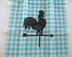 Your place to buy and sell all things handmade Black Rooster, Weather Vanes, Best Tea, Mid Century Decor, Vintage Kitchen, Tea Towels, Linen Fabric, I Shop, Vintage Items