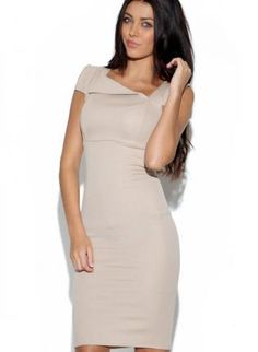 www.ustrendy.com, Stone Fitted Dress with Asymmetric Neckline,  Dress, stone color  asymmetrical, Chic